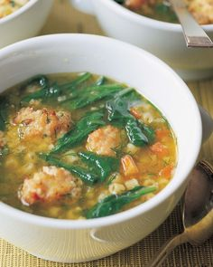 One of my all time favorite soups is my Italian Wedding Soup. The secret is in the delicious meatballs – instead of the traditional ground beef, I make them with ground chicken and chicken sausage, along with Parmesan cheese and lots of spices. And because I roast the meatballs instead of frying them on the stove, there's no mess! Simmered in chicken stock with fresh spinach and pasta, they make this soup a wonderful one-pot dinner your family will love.
