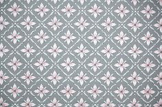 1940's Vintage Wallpaper - Pink and Gray Geometric with Metallic Silver Accents