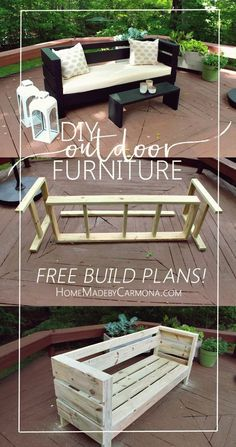 Ideas for diy outdoor sofa furniture plans Pallet Garden Furniture, Outdoor Furniture Plans, Furniture Ideas, Rustic Furniture, Antique Furniture, Furniture Stores, Modern Furniture, Cheap Furniture, Furniture Layout
