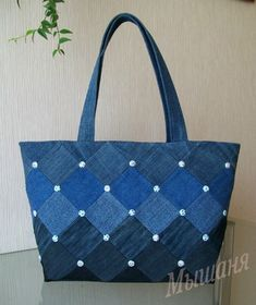 Best 12 Embroidered denim bag Jeans bag with ribbons embroidered Recycled fabric sac Summer floral purse Shoulder bagful Eco friendly tote bag – SkillOfKing. Denim Handbags, Denim Tote Bags, Denim Purse, Patchwork Bags, Quilted Bag, Denim Patchwork, Jean Purses, Purses And Bags, Tote Bag With Pockets