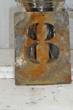 Rusty metal number eight stencil industrial farmhouse decor Anita Spero
