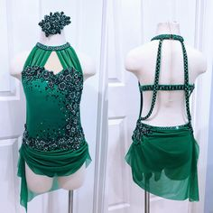 A sweet lyrical in a beautiful green for the gorgeous Rilynn 🍀 New favorite color! Custom Dance Costumes, Girls Dance Costumes, Dance Costumes Lyrical, Lyrical Dance, Dance Outfits, Dance Dresses, Contemporary Dance Costumes, Salsa Dress, Figure Skating Dresses