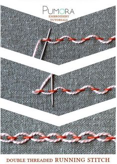 crewel embroidery tutorial double threaded running stitch tutorial - Learn how to embroider with the lexicon of embroidery stitches. Step by step tutorials on how to do the running stitch and it's variations.French Knot Stitch Method How To Do Stem S Embroidery Stitches Tutorial, Learn Embroidery, Embroidery Needles, Silk Ribbon Embroidery, Crewel Embroidery, Hand Embroidery Patterns, Embroidery Techniques, Cross Stitch Embroidery, Embroidery Kits