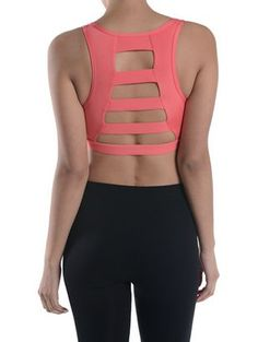 """The cutest sports bra to wear under tanks! Medium support bra. FABRIC AND CARE -90% Polyester 10% Spandex -HandWash ONLY Fit + Size -Full Length: """" -Chest: """" *Runs True To Size"""