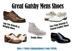 1920s Great Gatsby mens shoes - The 5 most common styles at http://www.vintagedancer.com/1920s/great-gatsby-mens-shoes/