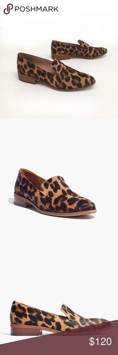 """Madewell leopard print loafers Madewell leopard print loafers. New in box. Size 9.5.  All-the-time loafers leopard-print calf hair. With a sleek almond toe and a notched vamp, these slip-on shoes are a head-turning way to get you place. •Calf hair upper. •Leather lining. •4/5"""" heel. •Man-made sole. Madewell Shoes Flats & Loafers"""