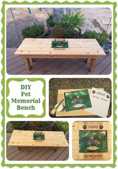 Memorialize a beloved pet with a photo bench. Sweet idea.