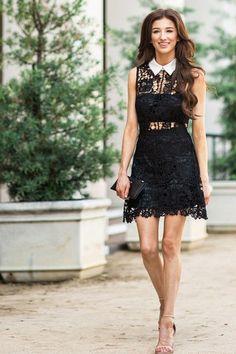CECILIA BLACK COLLARED CROCHET DRESS