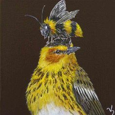 Vicki Sawyer original artwork at Lark & Key Gallery, Charlotte NC. Whimsical, humorous paintings inspired by the natural world - birds and other animals with hats and masks made of flora and fauna.