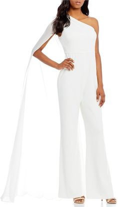 2a2ebdbaf66 Calvin Klein One-Shoulder Chiffon Capelet Jumpsuit at Dillard s (affiliate  link)