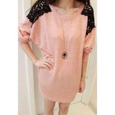 $7.39 Hot Sale Stylish Lace Splicing Round Neck Sweater For Women