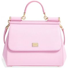 Women's Dolce&gabbana 'small Miss Sicily' Leather Satchel (22.514.685 IDR) ❤ liked on Polyvore featuring bags, handbags, rosa chiaro, dolce gabbana handbags, retro purses, satchel handbags, pink leather handbags and pink satchel handbags