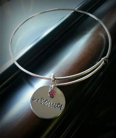 BeYOUtiful Hand Stamped Silver Charm Bracelet with Pink Stone by MissGawdysJewelry on Etsy