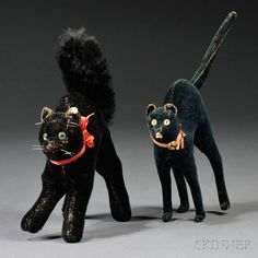 Sold for: $756 Two Steiff Halloween Black Cat Toys, Germany, second to third quarter 19th century, one cat with black mohair body, velvet ears, glass eyes,...