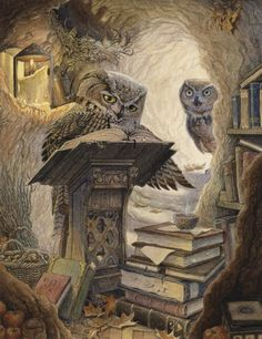 A great horned owl, hard at work in his treetop study. His mate calls from the passageway but he is too engrossed to hear. Autumn Scribe by Chris Dunn Illustration, whimsical animal art. Fantasy Kunst, Fantasy Art, Chris Dunn, Graffiti Kunst, Owl Pictures, Great Horned Owl, Owl Art, Children's Book Illustration, Illustrators