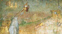 Marte scende in volo verso la vestale Rea Silvia, figlia di Enea, che sta facendo un brutto sogno. Affresco da Pompei, Casa di Marco Fabio Secondo