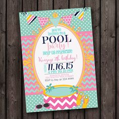 cute pool party invitation. customized, swimming party invitation, pink and mint