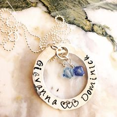 Hand Stamped Necklace  Mommy Necklace with Swarovski Crystals
