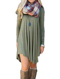 (My review of POSESHE Women's Long Sleeve Casual Loose T-Shirt Dress) -  Women's Long Sleeve Casual Loose T-Shirt Dress *Loose, soft and stretchy Accessories: Without Scarf and Necklace Main material:cotton Unique style,make you beautiful,fashionable,sexy and elegant. Dress Length: Above Knee *Please check the measurement chart carefully before you buy the...