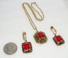 "Vintage Sarah Coventry ""Majorca"" Red Glass Necklace Earrings Set Pendant Clip On 