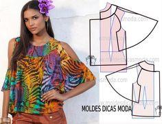 Passo a passo transformação do molde de blusa ombros à mostra. Para fazer este modelo de blusa imprima o molde base de blusa e faça a gradação.