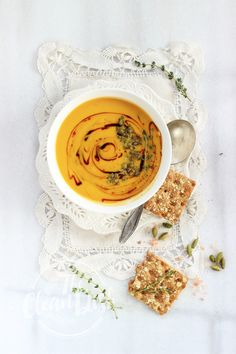"""Fall in Love"" Cardamom Spiced Butternut Squash Soup with Sautéed Capers {vegan, grain free, gluten free}"