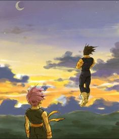Vegeta and Trunks - That's a pretty sunset. No wonder Vegeta stays outside alone. Trunks must have been watching him, probably wondering if his fathers alright. or he's happy to see his father. Dragon Ball Z, Vegeta Y Trunks, Manga Anime, Anime Art, Z Wallpaper, Dbz Vegeta, Db Z, Dragon Images, Comic Art