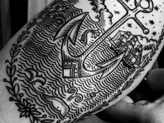 scrimshaw style tattoo - gorgeous gorgeous gorgeous. The work of Duke Riley at East River Tattoo in Brooklyn, NY