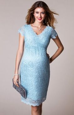 Luxury maternity dress for a special occassion. Laura Maternity Lace Dress Eau de Nil by Tiffany Rose