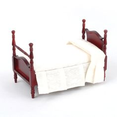 "E5114 - Victorian Pediment Single Bed (M) ""Dolls House Emporium"" Dollhouse Toys, Dollhouse Furniture, Dollhouse Interiors, Tiny World, Nursery Furniture, Toddler Bed, Victorian, Dolls, Kids Toys"