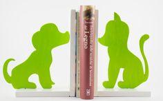 Fermalibri in legno Cane e Gatto Verde acido (coppia) - Wood Bookends Dog and Cat Acid green (couple)