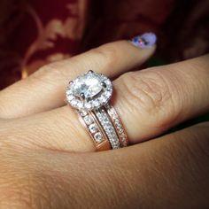 rose gold wedding ring mixed metals rose gold and white gold halo - Rose Gold And White Gold Wedding Rings