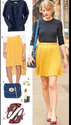 mustard yellow skirt + blue sweater...I love this combination