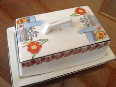 Vintage Hand Painted Porcelain Butter Dish From Japan
