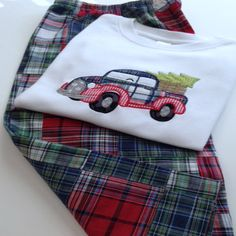 Boys Applique Christmas Truck Shirt and Pants Outfit with Personalized Name on Shirt