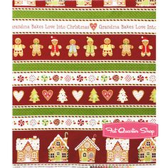 Gingerbread Treats Multi Border Stripe Yardage SKU# 20054-24