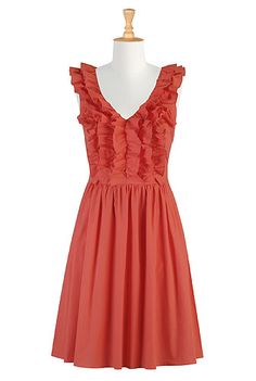 Ruffle front poplin dress! Free customization and measurements! Just ordered this for a wedding!