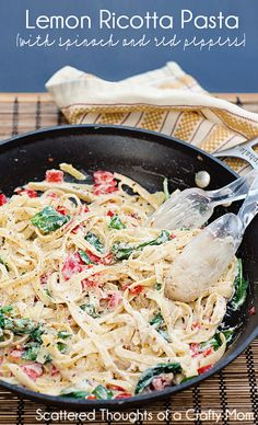 Light and Easy: Lemon Ricotta Pasta w/ spinach and Red Peppers #lemon #pasta #recipe