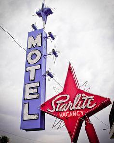 Fine Art Photography Las Vegas Motel Starlite Vintage Sign Star Neon