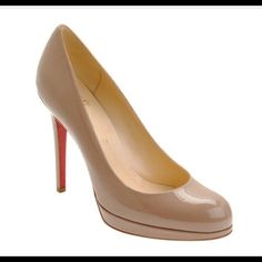 """Christian Louboutin New Simple Patent 120 Pump 38 Christian Louboutin New Simple Patent Pump 120 Camel.  Worn once to at event for several hours. Comes with original box and dust bag. Heel is 4.75"""" and slight platform toe is about     .25"""". The patent upper is in perfect condition. Christian Louboutin Shoes"""