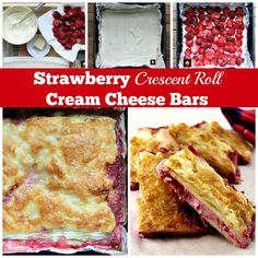 Strawberry Crescent Roll Cheesecake Bars. An incredibly easy and fuss free recipe with cream cheese and strawberry filling sandwiched between layers of pastry.