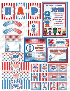 Captain America Avengers party complete party package printable with NO INVITE by delightfulprints.