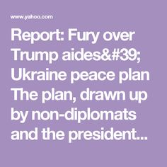Report: Fury over Trump aides' Ukraine peace plan     The plan, drawn up by non-diplomats and the president's personal lawyer, left officials in Kiev outraged, the New York Times reports.     Ambassador's comment»