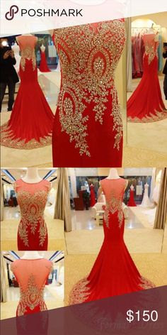La Femme Prom Dress I literally just got this dress in the mail today and it doesn't fit because i went up in a dress size so i'm looking to resell it:( it's a beautiful red dress with gold lace and i'm so sad to be selling it La Femme Dresses Prom