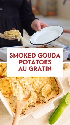 Smoked Gouda and garlic potatoes au gratin is the perfect and easy potato side dish for any holiday meal, but delicious enough for any evening. Potato Sides, Potato Side Dishes, Side Dishes Easy, Side Dish Recipes, Smoked Potatoes, Potatoes Au Gratin, Winter Dinner Recipes, Recipes Dinner, Bon Appetit