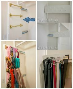 You have to see the full look of this closet. We love the slide out scarves and belt hooks for efficiency. Closet Organizing Hacks and Tips on Frugal Coupon Living.