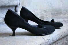 2fddfd60dbae 70% heeled italian black suede ballerina pumps with a little cute bow Rosa  Lipty made in italy 38 EU 7 US