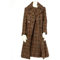 Pre-owned Adele Simpson Vintage 1960's 60s Houndstooth Brown Wool Coat... ($1,295) ❤ liked on Polyvore featuring ensembles, dress and coat ensembles and suits outfits and ensembles