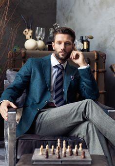 turquoise blazer. white oxford. navy + gray striped tie. paisley pocket square. brown belt. gray pants. business attire. wedding. dapper. style.