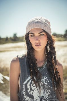 Long brown hair wavy messy bohemian style-La Luna Beanie - Blush | Spell & the Gypsy Collective